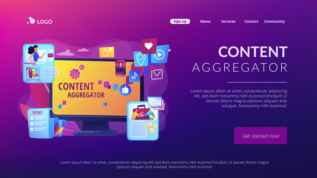 Different data compilation. Collection of media. Content aggregator, best media content here, aggregated content for resale concept. Website homepage landing web page template.
