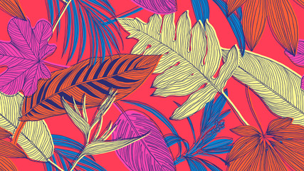 Botanical seamless pattern, colorful tropical leaves and flowers line art ink drawing on red