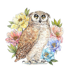 Watercolor drawing eagle owl, anemone flowers