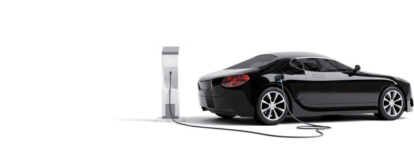 E-mobility, electric car charging battery. 3d rendering Wall mural