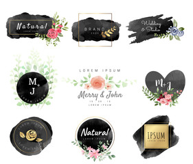 Logo watercolor background banner.for wedding,luxury  logo,banner,badge,printing,product,package.vector illustration