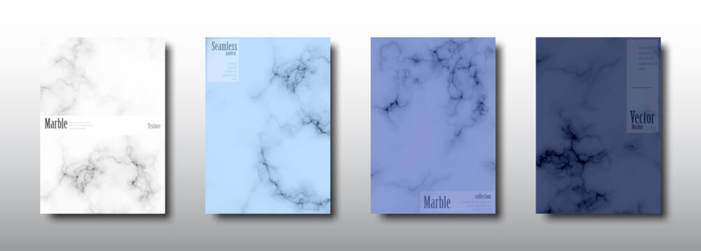 Marble texture seamless pattern navy blue background card collection