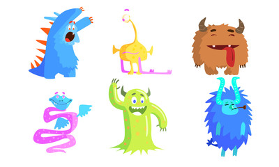 Cute Funny Monsters Set, Funny Adorable Colorful Monsters Characters Vector Illustration