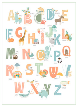 Kids english alphabet, A to Z with cute cartoon animals. Editable vector illustration