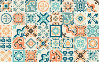 Seamless pattern with Portuguese abstract, hand-drawn tiles. Vector Fotoväggar