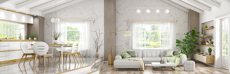 Interior of modern house, living room and dining room, kitchen panorama 3d rendering Fototapete
