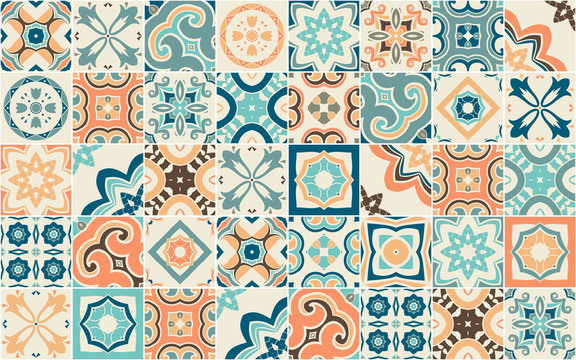 Seamless pattern with Portuguese abstract, hand-drawn tiles. Vector