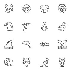 Animals line icons set. linear style symbols collection outline signs pack. vector graphics. Set includes icons as lion, eagle, dolphin, whale, fish, elephant, monkey, penguin, panda, owl hummingbird