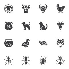 Insects and animals vector icons set, modern solid symbol collection, filled style pictogram pack. Signs, logo illustration. Set includes icons as spider, turtle, goat, bull, sheep, pig, cow, dog, cat