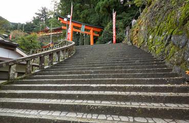 The steps leading up to the entrance of Kumano Hayatama Taisha shrine. Wakayama. Japan