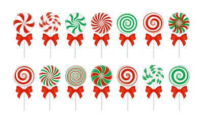 Vector candy canes with a red bow. Large set of red and green candy without wrapper on white.