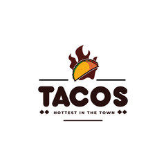 Tacos and fire, hot taco mexican restaurant emblem hipster vintage logo