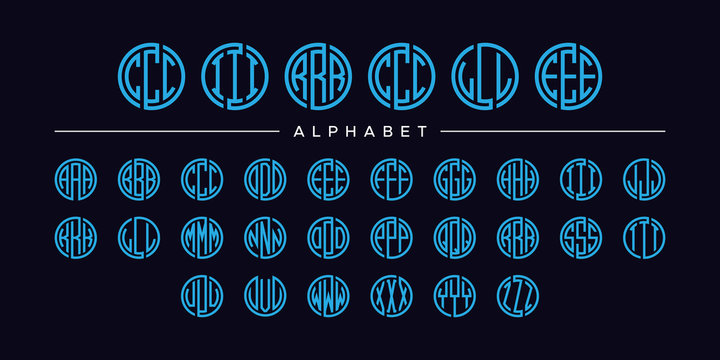 set three letter circle blue font vector alphabet