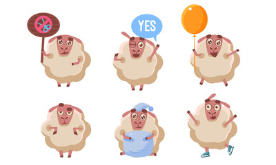 Cute Sheep Character Set, Funny Farm Animal in Different Situations Vector Illustration