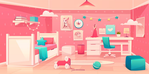 Little girl bedroom cozy interior in pink, turquoise colors with single bed, soft ottoman, animal pictures on wall, comfortable chair near desk, toys and carpet on floor cartoon vector illustration