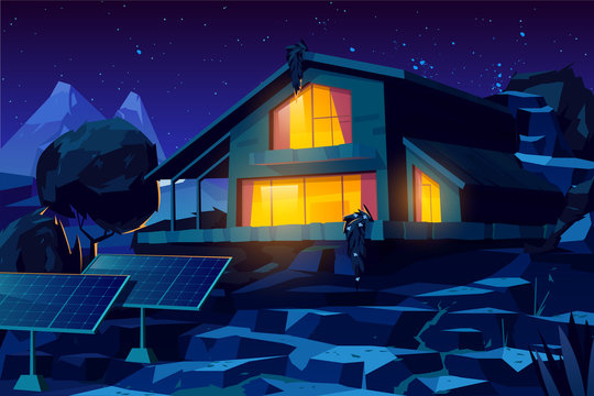 Two storey cottage building, rural house with solar panels in yard, country villa or chalet glowing warm yellow light through windows at starry night in mountainous area cartoon vector illustration