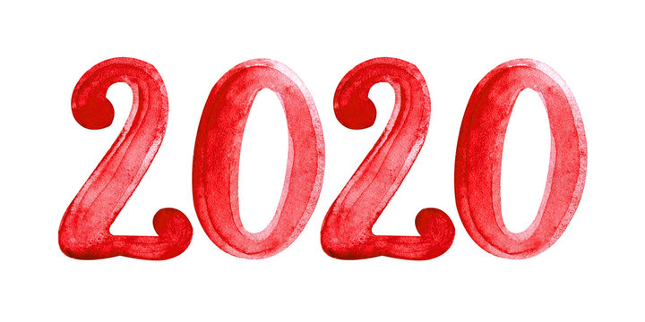 Watercolor illustration 2020 red isolated on white background. 2020 hand drawn symbol. Christmas and New year card template