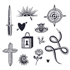 Tattoo art in old school style. Minimalistic hand drawn tattoo elements.