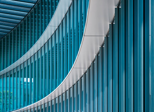 Architecture detail Modern Building Glass facade wall curve pattern Exterior