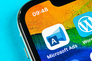 Helsinki, Finland, May 4, 2019: Microsoft ads application icon on Apple iPhone X screen close-up. Microsoft ads app icon. Microsoft ads is online advertising application. Social media network.