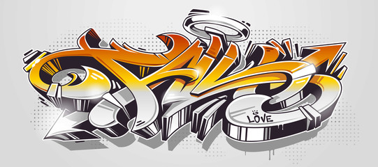 Foto op Plexiglas Graffiti Fall Graffiti Wild Style Vector