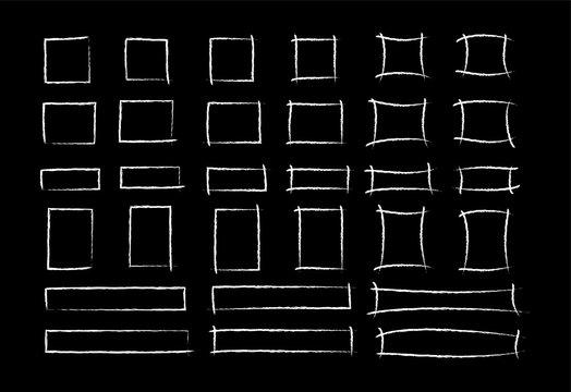 Chalk marker square frame set vector illustration. Group of hand drawn rectangle white chalked borders on school blackboard. Crayon marks for office presentation or social media design