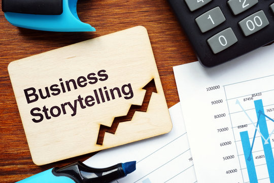 Writing note shows the text Business Storytelling