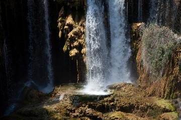 beautiful waterfall photo background, rocky field