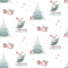 Wall Mural - Watercolor Merry Christmas seamless patterns with christmas tree and rat, holiday cute baby mouse animals. Christmas tree celebration paper. Winter new year design.