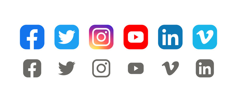 Collection of popular social media logo: Facebook, twitter, instagram, youtube, linkedin, vimeo. Social media icons. Realistic set. Vector illustration. Vinnitsa, Ukraine - August 26, 2019