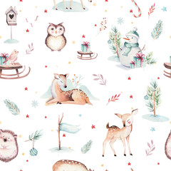 Wall Mural - Watercolor seamless pattern with cute baby deer, snowman, bunny and deer cartoon animal portrait design. Winter holiday bear card on white. New year decoration, merry christmas element