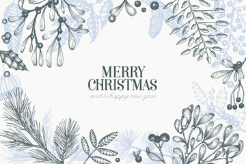 Christmas hand drawn vector greeting card template. Vintage style illustration