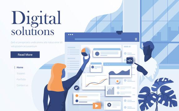 Flat Modern design Illustration of Digital Solutions