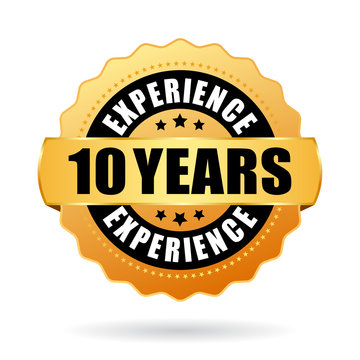 10 years experience gold vector seal