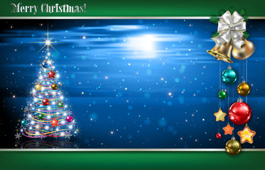 Abstract blue background with Christmas tree and decorations