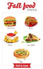 Fast food menu. Watercolor pictures
