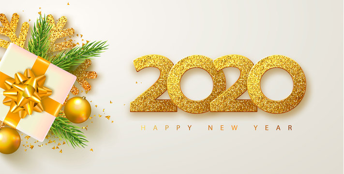 Happy new year 2020 banner with golden luxury numbers,gifts box,spruce branches,streamers and shining snowflakes.. Gold Festive Numbers Design. Vector illustration