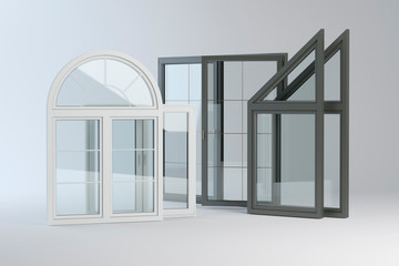 Plastic windows collection, 3D illustration
