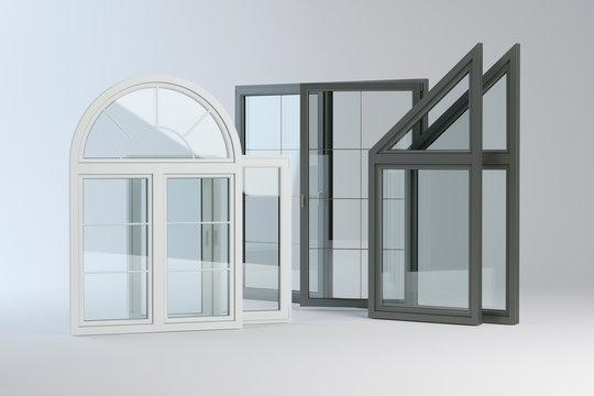 Plastic windows collection, 3D illustration