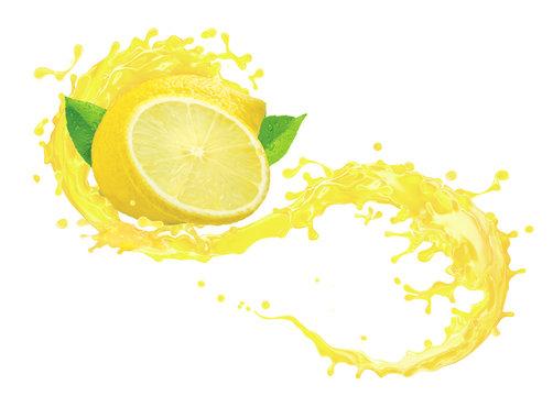 Fresh ripe lemon fruit slice, lemon juice or lemonade 3D splash swirl. Juice splashing, lemon juice label. Liquid healthy detox drink tropical citrus fruit design element isolated on white background
