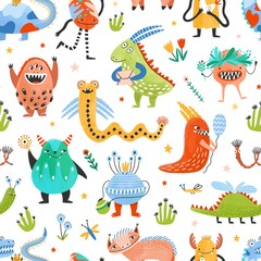 Seamless pattern with strange charming fantastic monsters, magical fairytale creatures, funny mutants on white background. Flat cartoon childish vector illustration for wrapping paper, fabric print.