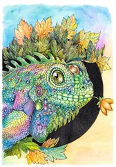 Iguana, lizard, chameleon, drawing with watercolor paints