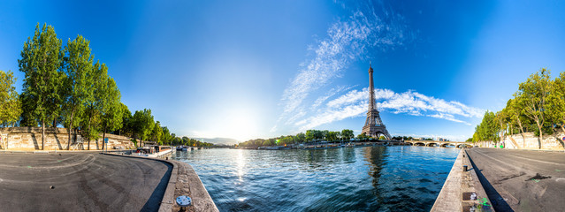 Aluminium Prints Eiffel Tower Scenic panorama of the Eiffel Tower and the riverside of Seine in Paris, France. 360 degree panoramic view