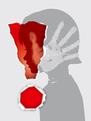 Fototapeta Domestic Violence against children. Little girl stylized head silhouette with hand print after hand slap in ripped paper exclamation mark. Vector available. obraz