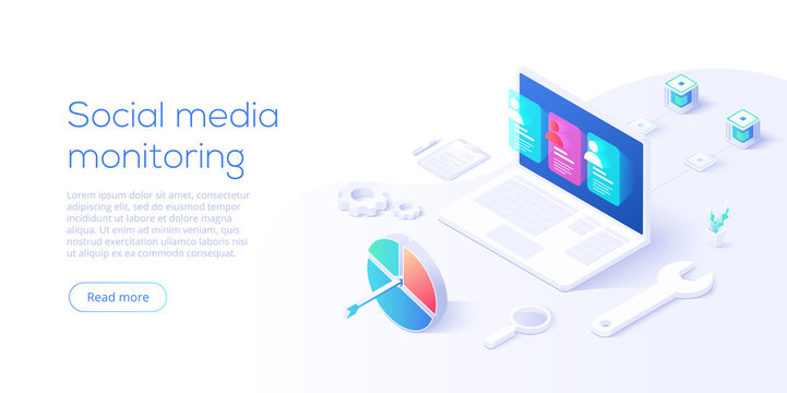 Social media monitoring concept in isometric vector design. Online internet marketing analysis or business monitoring tools. User engagement metrics or measure technology.