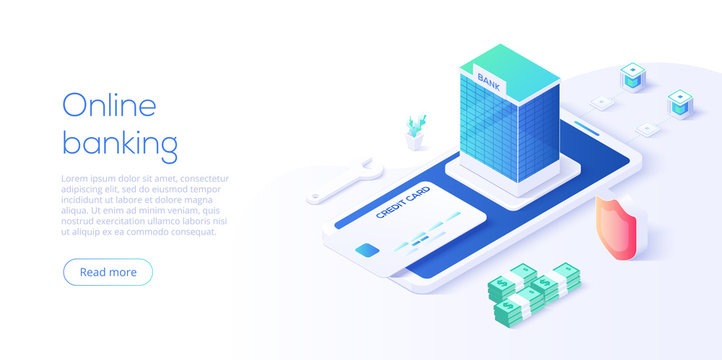 Online mobile banking transaction concept in isometric vector design. Digital payment or online cashback service. Withdraw deposit with smartphone. Web banner for website layout template.