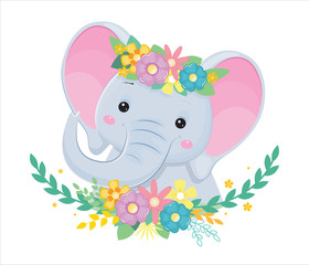 Head of grey elephant in flowers. Children illustration