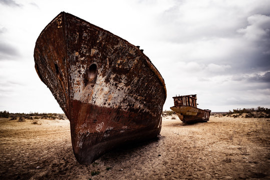 abandoned boat on the beach aral sea