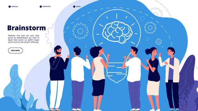 Brainstorm concept. Professionals launching creative project, brainstorming. Startup innovation teamwork business vector landing page. Illustration startup brainstorming, teamwork, strategy team