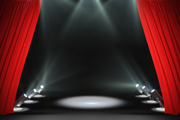 Modern stage with red curtains - fototapety na wymiar